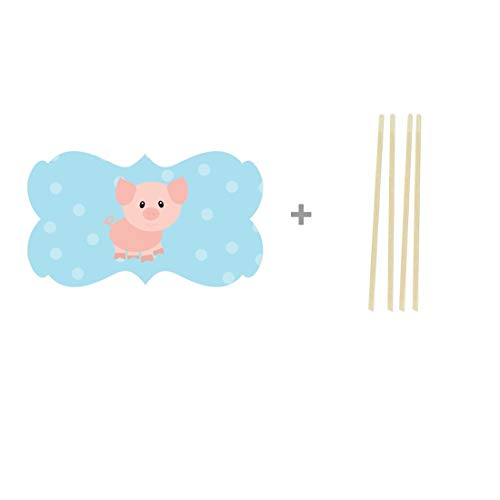 Andaz Press Birthday Cupcake Toppers DIY Party Favors Kit, Farm Animal Pig, Double-Sided, 18-Pack