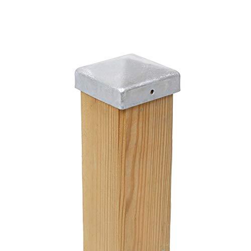 10 x Pfostenabdeckung / Zaunpfosten Kappen 7 x 7 cm eckig in Pyramide Form aus Stahl, verzinkt im günstigen Aktionsset