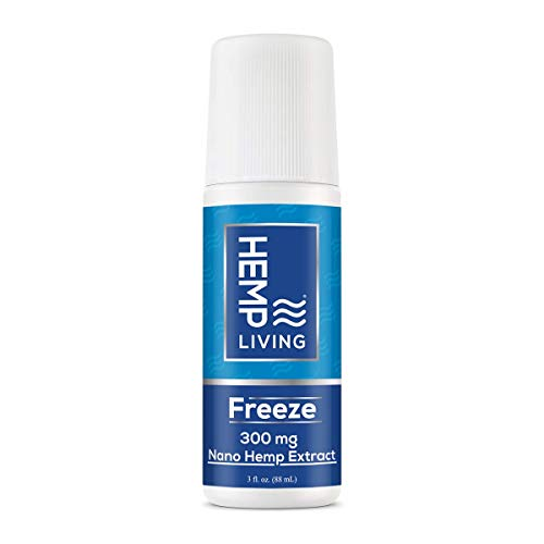 HEMP Living Freeze Nano Hemp Extract | Topical Cold Therapy 300 MG | Enhanced Absorption | Premium Pain Relief | 3 oz Roll on Bottle