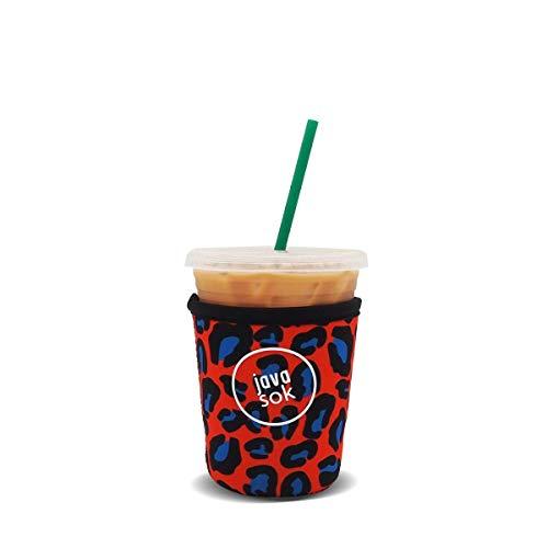 Java Sok Wiederverwendbare Isolierhülle für Eiskaffeetassen, für kalte Getränke und Neopren-Halterung für Starbucks Kaffee, McDonalds, Dunkin Donuts, mehr (moderner Geparden, 473-570 ml, klein)