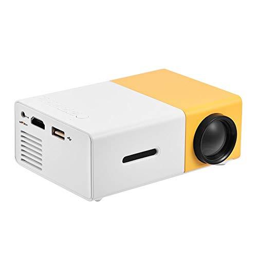 Tragbarer LED Projektor, Mini Full HD Multimedia Beamer Unterstützung AV/USB / HDMI/TF für Home Büro Theater(Weiß und Gelb)