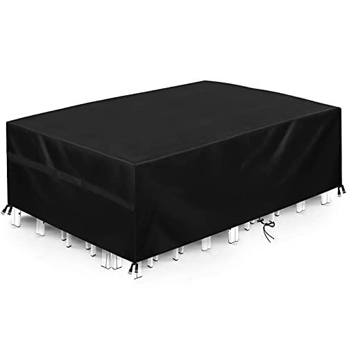 Funda para Muebles Interior 180x135x90cm, Funda para Muebles De Jardin, Protección para Todo Clima, Hecha De Tela Oxford De Filamento Negro, Impermeable Y Resistente Viento