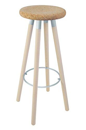 Tosel 5-karina barkruk, hout, kurk en metaal, eiken, aluminium, 30 x 30 x 79 cm