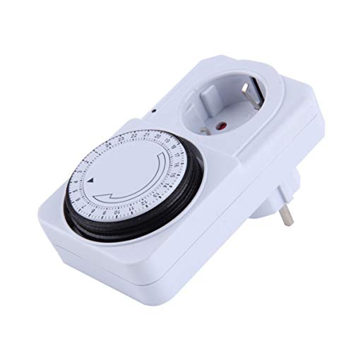 Heaviesk Mechanischer elektrischer Stecker für 24 Stunden Programm Timer Schaltsteckdose Energiesparlampe US/EU-Stecker Weiße Farbe
