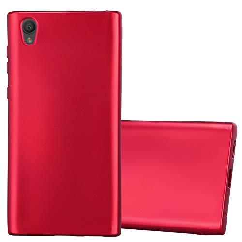 Cadorabo Hülle für Sony Xperia L1 in METALLIC ROT - Handyhülle aus flexiblem TPU Silikon - Silikonhülle Schutzhülle Ultra Slim Soft Back Cover Hülle Bumper