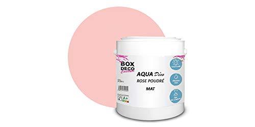 Peinture acrylique aspect mat Aqua déco - Murale - 44 couleurs - 2,5 L - 25 m² (Rose Poudré)