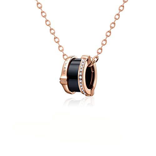 Blisfille Colgantes Oro 18K Hip Hop Collar Rosa Gato Colgante Plata Y Perlas Collar Oro Estrellas Colgantes de 5 Mejores Amigas Collar de Mujer Barato