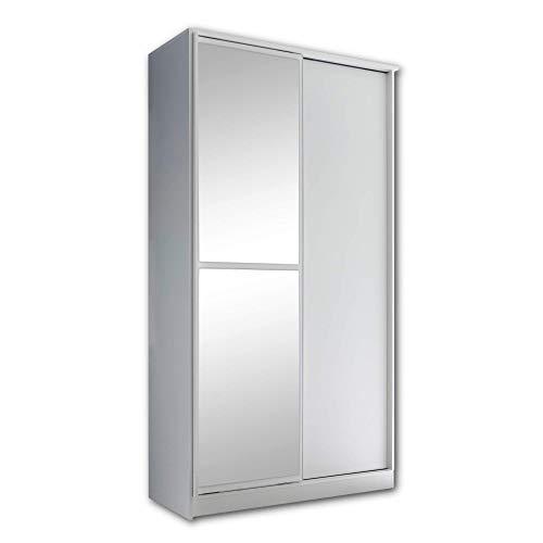 Stella Trading Aledo-Armadio elegante con grande anta a specchio e ampio spazio di archiviazione, con ante scorrevoli in bianco, materiale a base di legno, 120 x 220 x 45 cm
