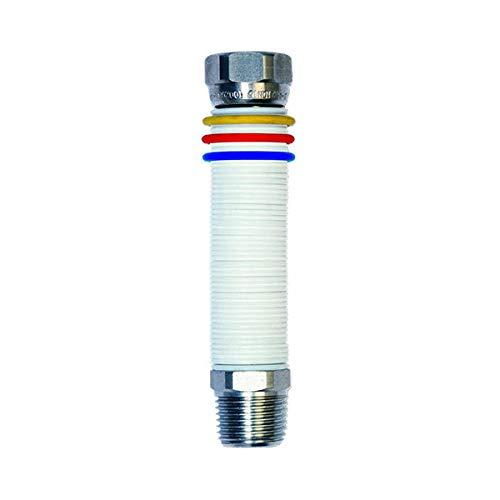 MBM Tubo per Gas O Acqua Flessibile Estensibile Inox 1/2'' 200/400 MM unisuperNORMA Uni 11353 DM 174 Bianco con Tre Anelli IDENTIFICATIVI DELL'USO in Acciaio Caldaia/Cucina