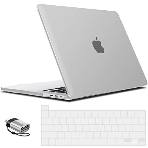 IBENZER MacBook Pro 16 Inch Case A2141 Release 2020 2019, Hard Shell Case with Keyboard Cover & Type C Adapter for Apple Mac Pro 16'' with Touch Bar and Touch ID, Clear, T16CL+1TC