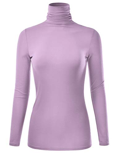 EIMIN Women's Long Sleeve Turtleneck Lightweight Pullover Slim Shirt Top Lilac 2XL