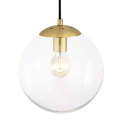 Light Society Zeno Globe Pendant, Clear Glass with Brass Finish, Contemporary Mid Century Modern Style Lighting Fixture (LS-C175-BRS-CLR)