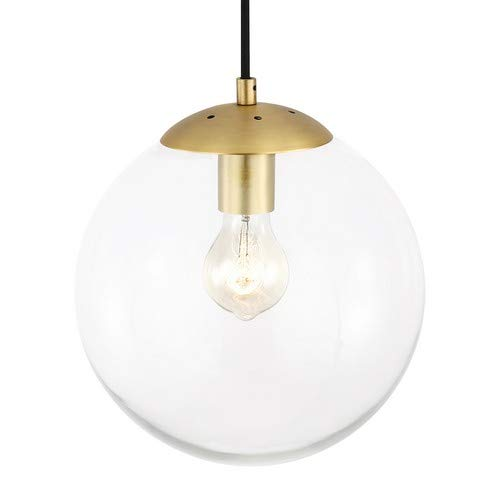 Light Society Tesler Globe Pendant Clear Glass With Brass Finish Contemporary Mid Century Modern