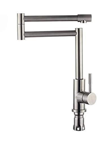 Grifo de cocina Grifo mezclador de cocina de acero inoxidable con caño giratorio de 360 grados palanca única grifo de fregadero de cocina moderno grifo giratorio plegable