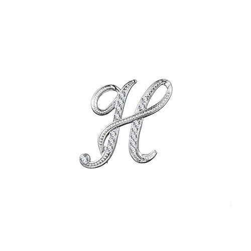outopeno 1Pc Rhinestone-Kristall-Alphabet Buchstaben Brosche Hochzeit Kleidung Pins Accessoires Weihnachten Geburtstag Valentine Schmuck Geschenke (Buchstabe H, Silber)