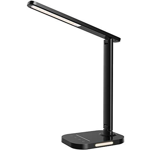 Litom - Lampada da tavolo a LED, con luce notturna con 5 colori e 10 livelli di luminosità, ricarica USB, timer 1 H, controllo touch, funzione di memoria, per lettura, lavoro, studio, nero