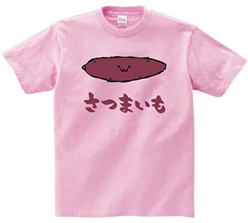 さつまいも サツマイモ 薩摩芋 野菜 果物 筆絵 イラスト カラー おもしろ Tシャツ 半袖 ピンク L