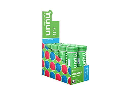 Nuun Hydration: Vitamin + Electrolyte Drink Tablets, Blueberry Pomegranate, 12 Count (Pack of 8) (96 servings), Enhanced for Energy and Daily Health