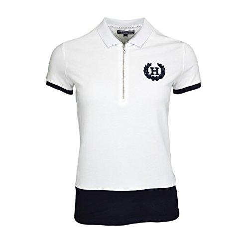 Tommy Hilfiger Mindy Polo SS Maglietta, Classic White 100, L Donna