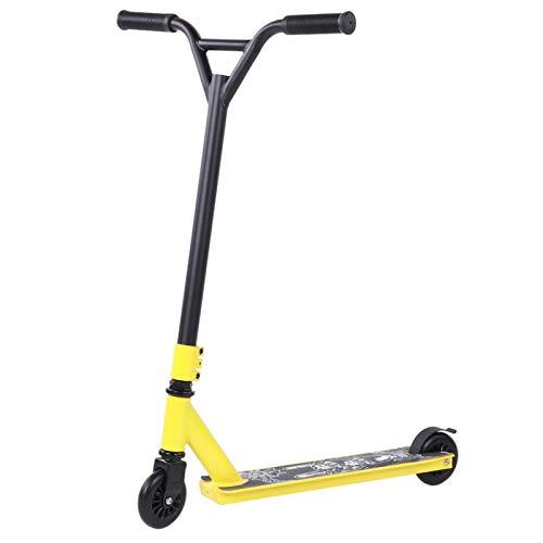 DAUERHAFT Scooter portátil para Adultos, Patinete Profesional Amarillo de 2 Ruedas de PU, Equipo de Pedal Deslizante, para Adultos, Trabajo