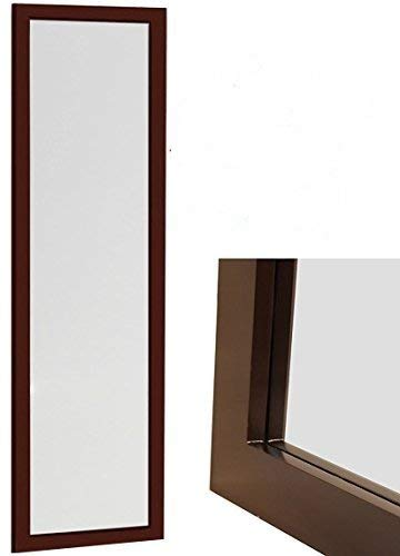 """ProDecor Quality Furniture Wood Frame Over The Door Mirror -Wall Mount Mirror -Full Length Mirror - Dressing Mirror -Size 14"""" x 48"""" - Installation Hardware and Instructions Included - Espresso"""
