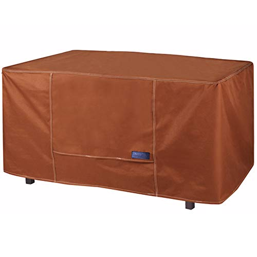 NettyPro Outdoor Fire Pit Table Cover 54 inch Rectangular Waterproof Heavy Duty Patio Firepit Cover, Brown