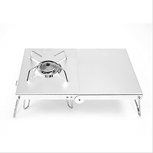 woyada Mesa de camping plegable de aleación de aluminio con aislamiento térmico, soporte plegable para estufa de camping con bolsa de almacenamiento, mesas de picnic para interiores y exteriores