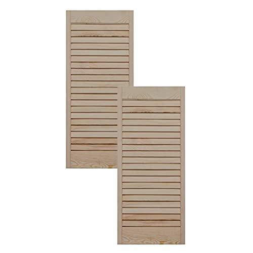 Lamellentür Holztür natur 69,0 x 29,4 cm mit offenen Lamellen für Regale, Schränke, Möbel | Kiefer Holz unbehandelt | Doppel-Paket 2-er Pack