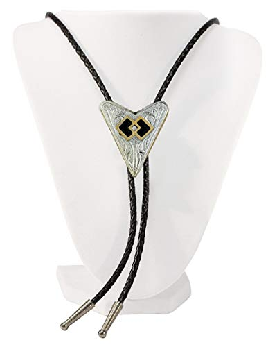 Sunrise Outlet Men's Western Bolo Tie Square Dance with Black Leatherette - 18 inch hang