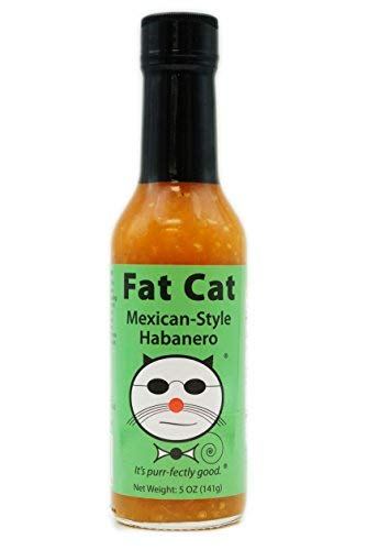 Fat Cat Mexican-Style Habanero Hot Sauce, Preservative-Free, Gluten-Free, Medium-High Heat, 5 oz. glass bottle