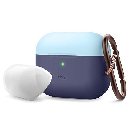 elago Duo Case AirPods Pro Hülle Silikon Case mit Karabiner Kompatibel mit AirPods Pro, Hochwertiges Silikon für AirPods Pro mit 2 Caps + 1 Body (Pastell Blau, Nachtleuchtendes Blau/Jean Indigo)