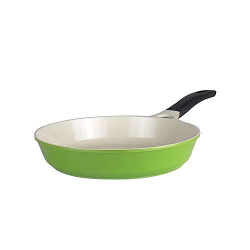 KIYYI keramische braadpan, antiaanbaklaag, omelet gebraadd steakpan, minder olie, foeme, energiespaarpan, steakpan, friser, inductiefornuis, gasfornuis, groen, 30 cm regel?