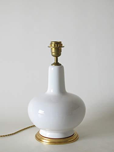 POLONIO Lámpara de Ceramica Sobremesa Mesilla Noche Color Blanco de 25 cm E27, 60 W - Pie de Lámpara de Cerámica Blanco Brillo.