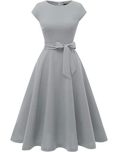 DRESSTELLS 1950er Vintage Retro Cocktailkleid Rockabilly V-Ausschnitt Faltenrock Hochzeitskleid Midilang Grey XS