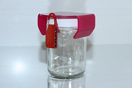 Lasergrafics-Shop chocosafe® Nutella Schloss pink, mit rotem Vorhangschloss