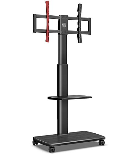 FITUEYES Carrello TV mobile con base in legno Supporto TV su ruote 2 ripiani su ruote per schermo da 32 'a 65' Girevole in altezza Regolabile Supporta 40 kg Max VESA 600 * 400 mm Gestione cavi