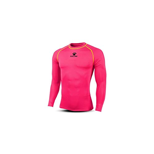 KELME Men's Long Sleeve T-Shirt Base Layer Cool Dry Compression Tops (Large, Pink)