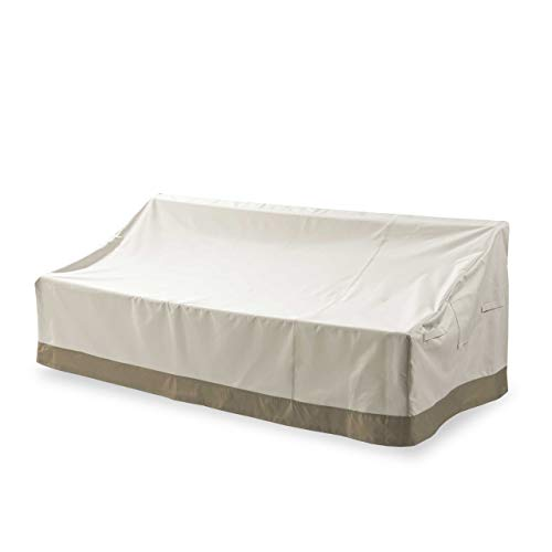 Lumaland Abdeckung für 3-Sitzer-Lounge-Sofa tief 198 x 97 x 40/76 robuste Schutzhülle für Gartenmöbel Oxford 600D 280 g/m² Wasserdicht Witterungsbeständig Winterfest in cm Beige