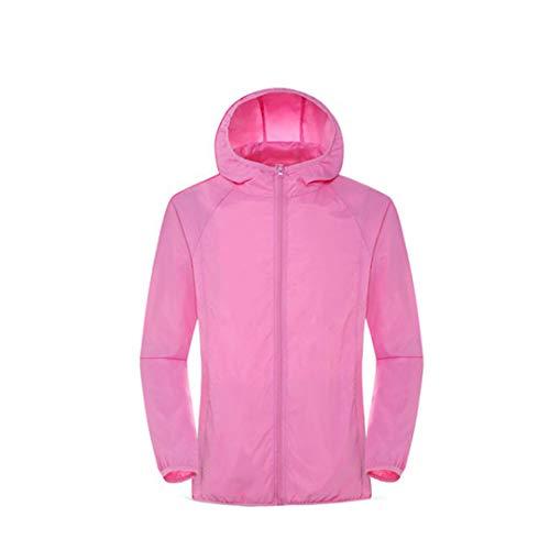 Chaquetas de Senderismo para Hombres y Mujeres Impermeables y de Secado rápido Camping y Caza se adaptan a la protección Solar y Abrigos de Deportes al Aire Libre a Prueba de Viento Pink L