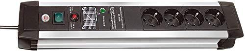 Brennenstuhl Premium-Protect-Line, Steckdosenleiste 4-fach mit Überspannungsschutz - stabiles Aluminium-Gehäuse (3m Kabel und Schalter) Farbe: schwarz