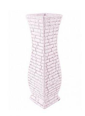 Vase grec Sparte 30 cm en céramique Blanc et Argent