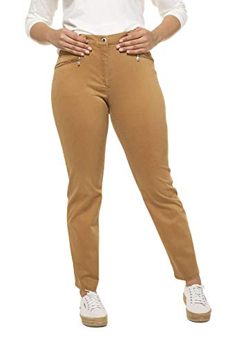 Ulla Popken Damen große Größen weiche Stretchhose Soft Peach Mony Hose, Beige (Cognac Braun 71242833), 52