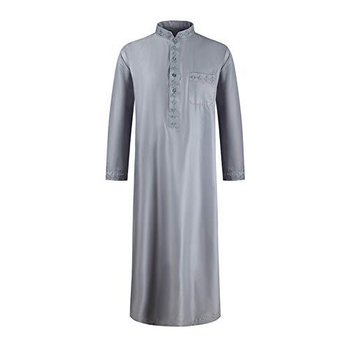 Ansemen Männer Muslimische Robe - Arabischer Naher Osten Ethnische Kleidung Islamisches Dubai Langarm Kaftan Jüdisches Voller Länge Thobe