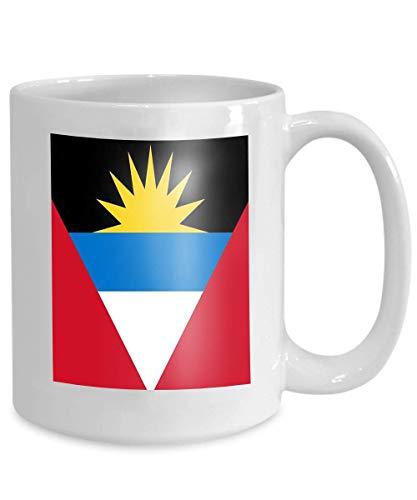 Kaffeetasse, 325 ml, Keramik, Geschenk für Clerks, Antigua Barbuda Ai, Aviable, Rot, Weiß, Schwarz, Gelb, Blau, Streifen, Karibik-Flagge, Antigua Barbuda