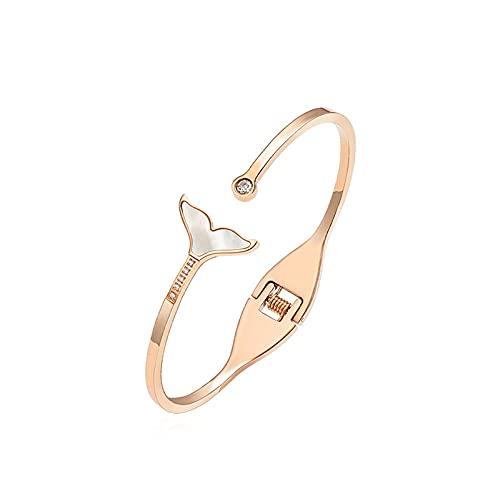 Brazaletes Joyas de Acero de Titanio Flash Diamante Joyas de Sirena Mujeres Estudiantes Novias Pulsera pequeña Simple de Cola de pez Fresca