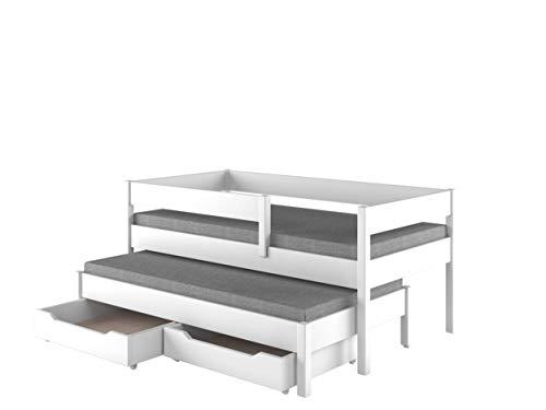 Children's Beds Home Cama Nido para niños Niños Juniors con 2 colchones de Espuma y cajones incluidos (180x80, Blanco)