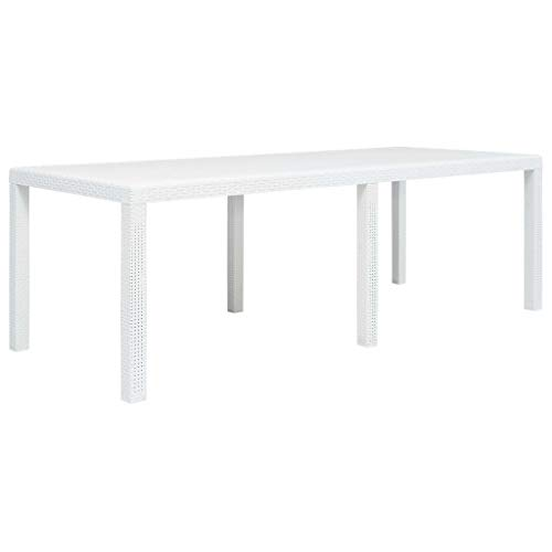 vidaXL Table de Jardin Blanc 220x90x72 cm Plastique Aspect Rotin Terrasse