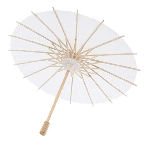 B Blesiya Papierschirmchen Cocktailschirmchen Dekoschirmchen Cocktail Schirmchen - Weiß, 30 cm