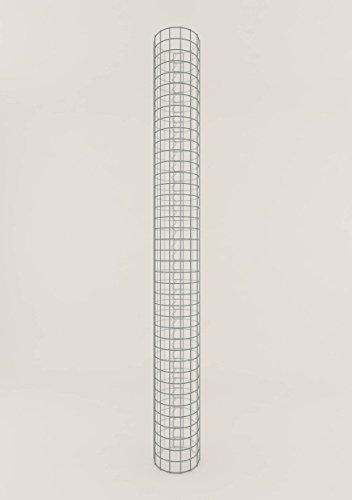 GABIONA Säule Steinkorb-Gabione rund, Maschenweite 5 x 5 cm, Höhe 80 cm, Spiralverschluss, galvanisch verzinkt (22 cm Durchmesser)