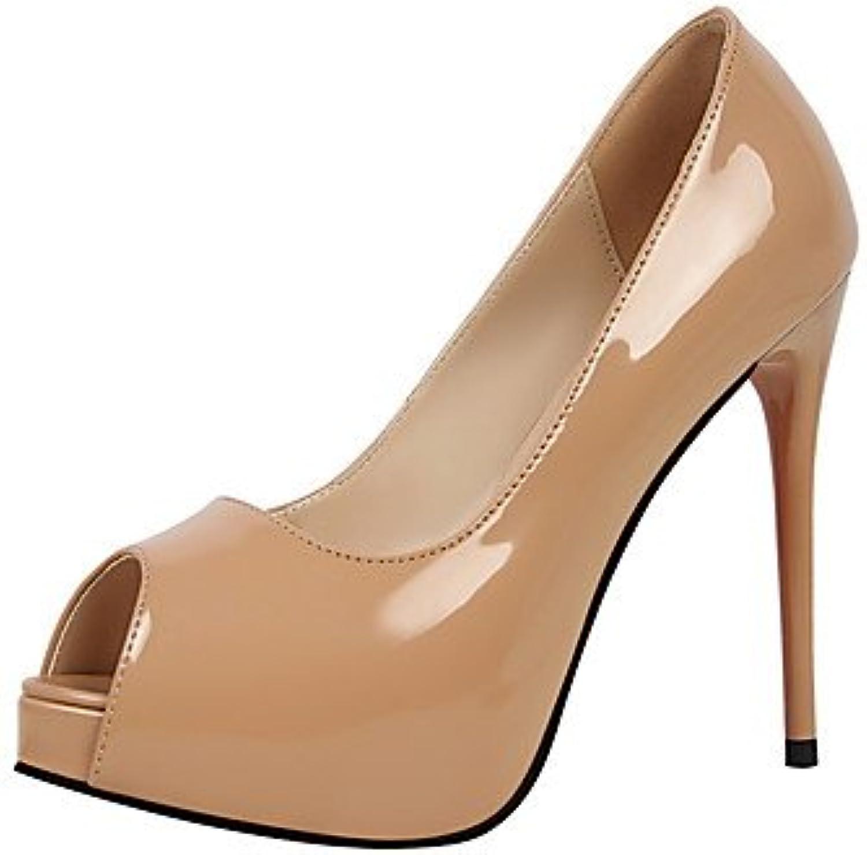 LvYuan-ggx Damen-High Heels-Kleid-Leder-Stckelabsatz-Komfort-Silber Purpur Rot Mandelfarben Hautfarben